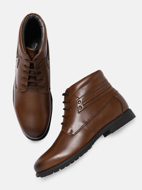 Roadster Men Tan Solid Synthetic Leather Mid-Top Flat Boots