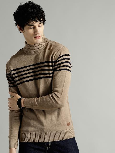 Roadster Men Beige & Navy Blue Striped Pullover