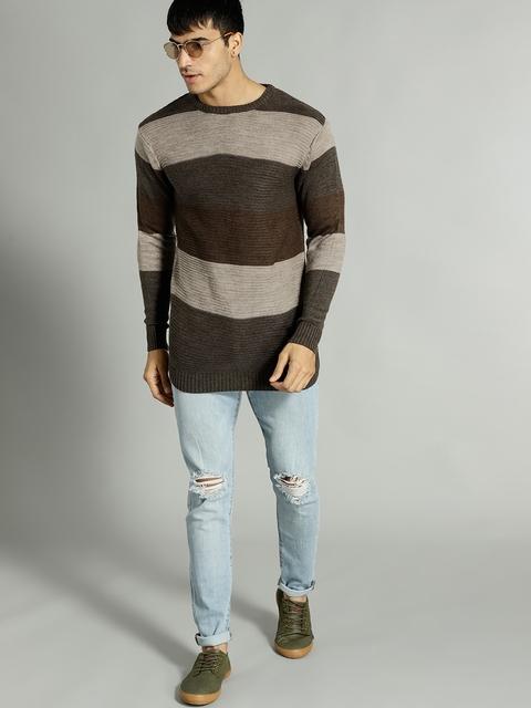 Roadster Men Beige & Brown Striped Pullover