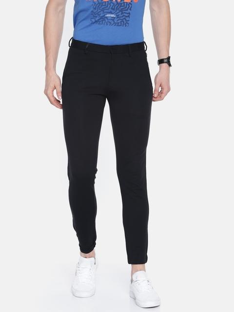 Jack & Jones Men Black Slim Fit Solid Regular Trousers