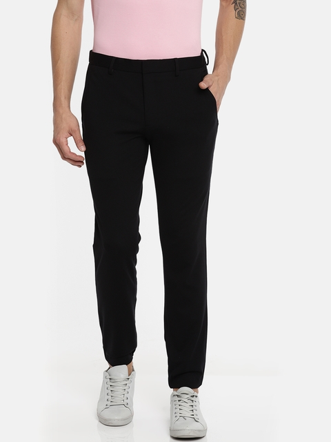 Jack & Jones Men Black Slim Fit Solid Regular Trousers