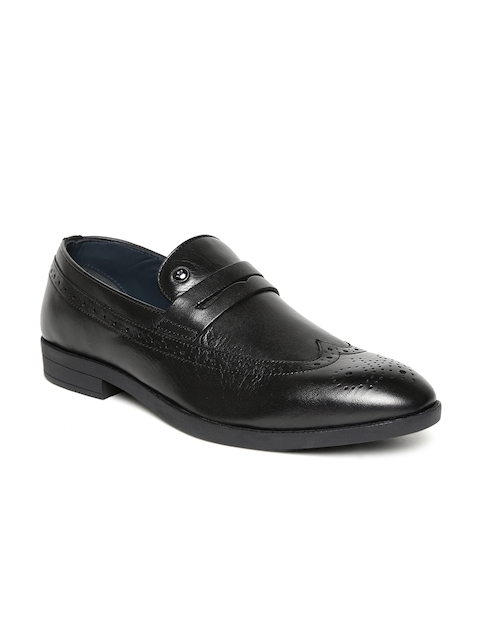 Louis Philippe Men Black Semiformal Slip-On Leather Brogues