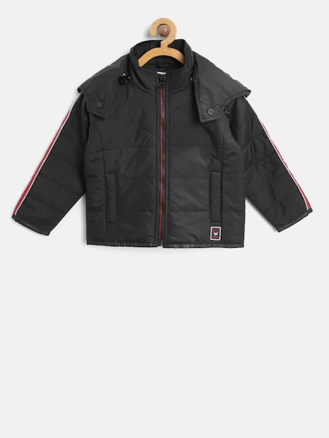 612 league Boys Black Solid Quilted Jacket