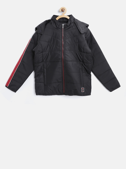 612 league Boys Black Solid Open Front Jacket with Detachable Hood