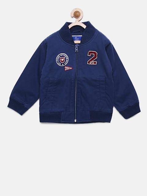 612 league Boys Navy Blue Solid Bomber Jacket