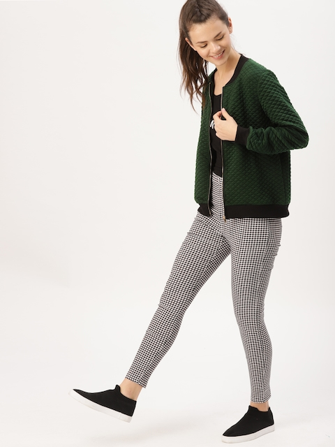 DressBerry Women Olive Green Solid Quilted Jacket