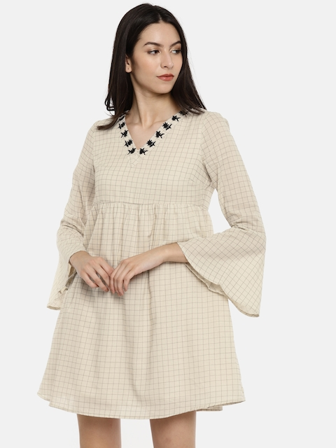 Vero Moda Women Beige Checked A-Line Dress