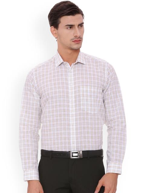 Van Heusen Men Beige Comfort Regular Fit Checked Formal Shirt