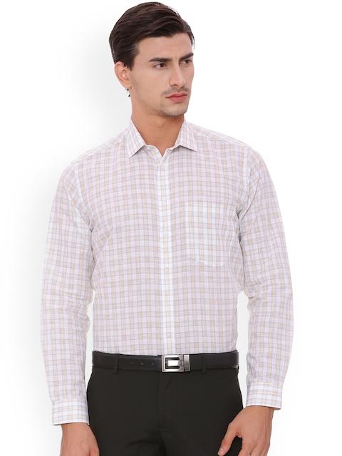 Van Heusen Men Beige & White Regular Fit Checked Formal Shirt