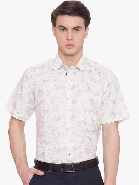 Van Heusen Men Beige Comfort Regular Fit Printed Formal Shirt