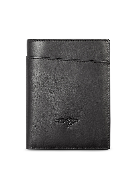 Quick Brown Fox Men Black Solid Leather Card Holder