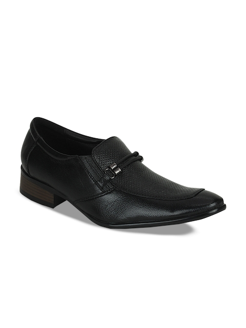 Kielz Men Black Semi-Formal Leather Slip-on Shoes
