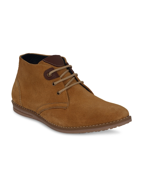Kielz Men Tan Solid Suede Mid-Top Flat Boots