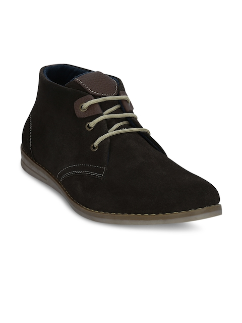 Kielz Men Coffee Brown Solid Suede Mid-Top Flat Boots