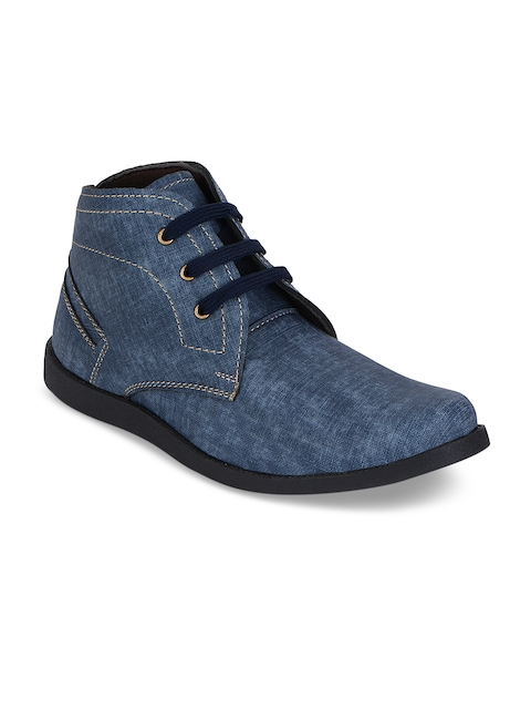 Kielz Men Blue Solid Synthetic Mid-Top Flat Boots