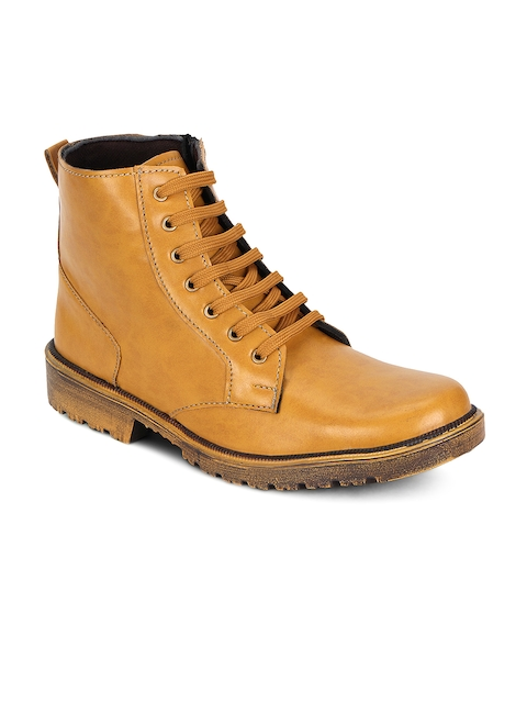 Kielz Men Brown Solid Synthetic High-Top Flat Boots