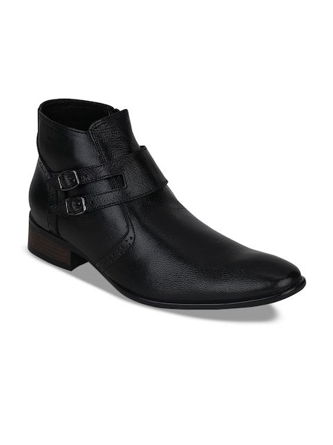 Kielz Men Black Semiformal Leather Boots