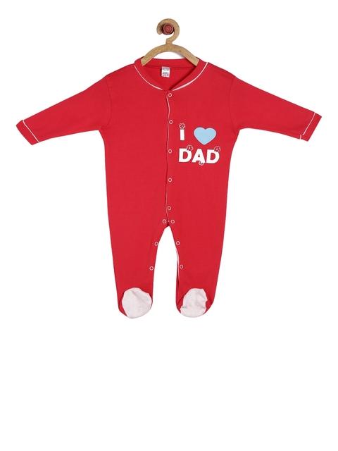 GKIDZ Kids Red Printed Sleepsuit