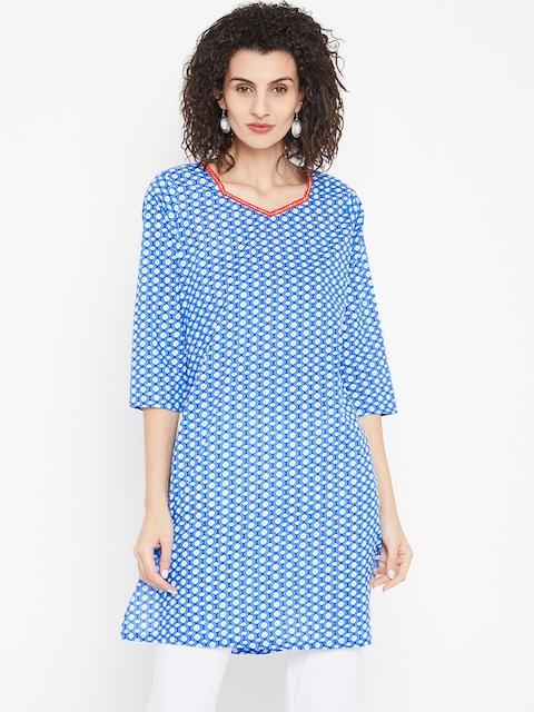 Karigari Women Blue & White Printed Straight Kurta