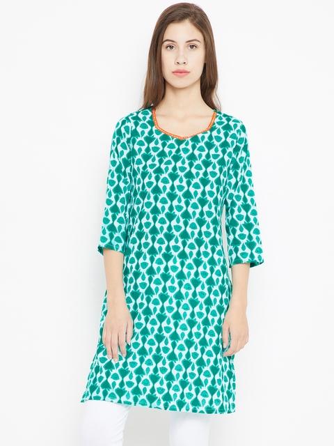 Karigari Women Green & White Printed Straight Kurta