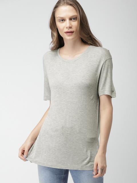 Tommy Hilfiger Women Grey Solid Round Neck T-shirt
