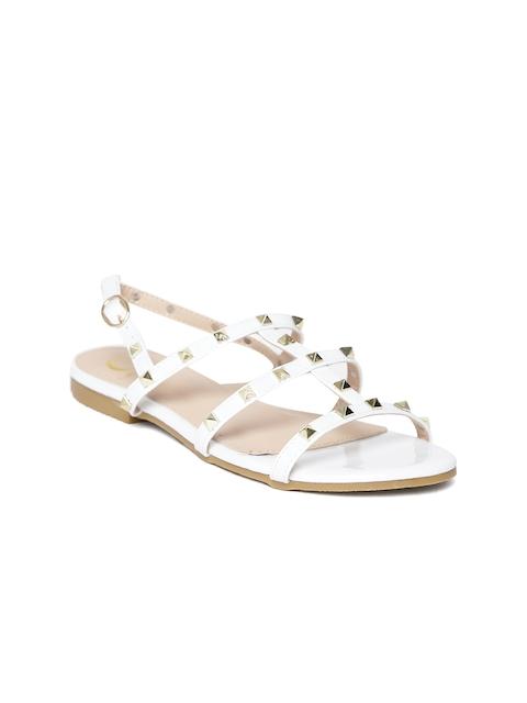 Carlton London Women White Studded Open Toe Flats