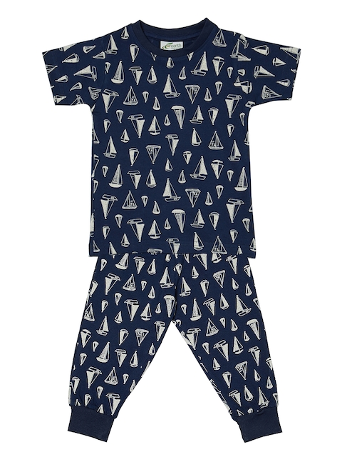 earth conscious Boys Navy Blue & White Printed Night suit