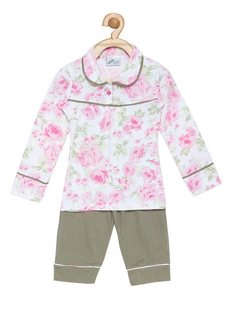earth conscious Girls Pink & Blue Printed Night suit