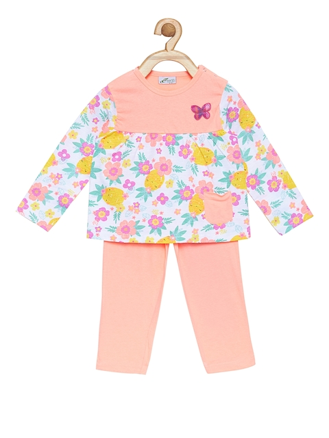 earth conscious Girls Pink Printed Night suit