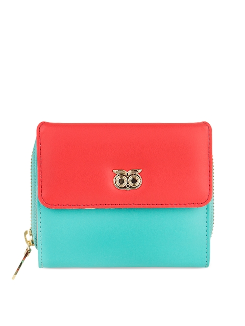 Chumbak Women Turquoise Blue & Red Colourblocked Three Fold Wallet