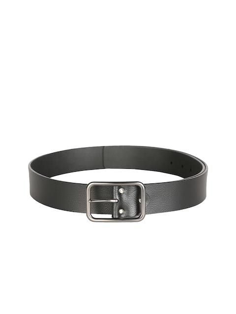 V Dot Men Black Solid Belt