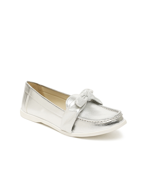 Carlton London Women Silver-Toned Loafers