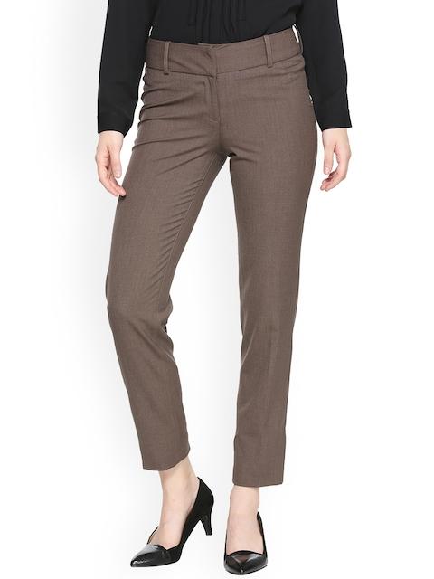 Van Heusen Woman Women Brown Regular Fit Solid Formal Trousers