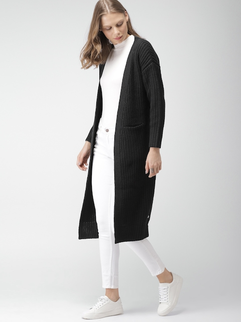 Mast & Harbour Women Black Solid Cardigan