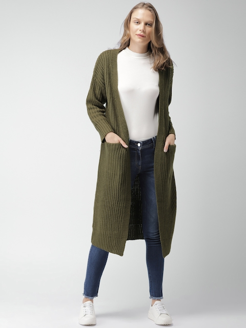 Mast & Harbour Women Olive Green Solid Cardigan