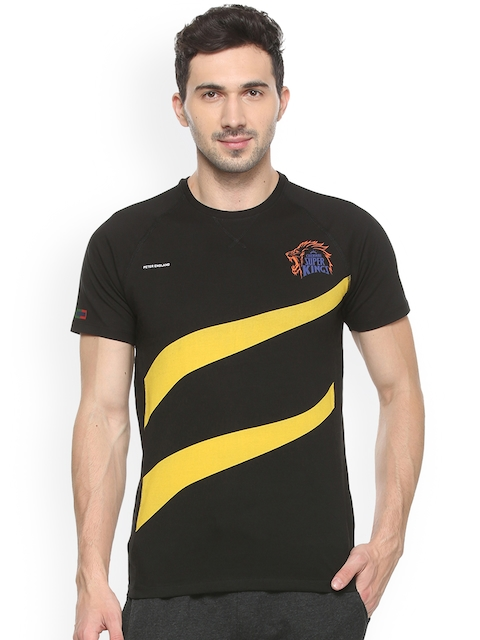 Peter England Men Black Printed Round Neck T-shirt