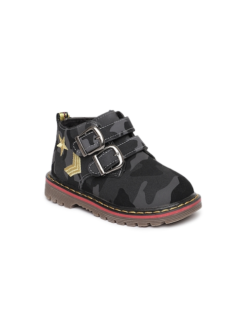 Kittens Boys Grey Solid Textile Mid-Top Flat Boots