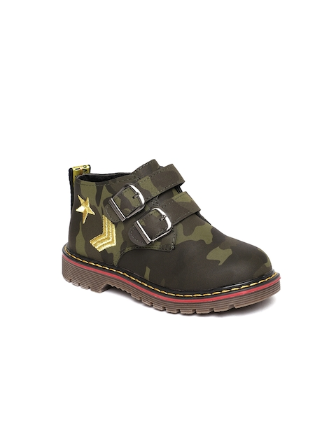 Kittens Boys Green Printed Synthetic Mid-Top Flat Boots