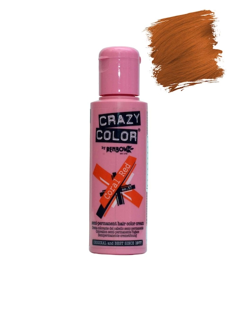Crazy Color Unisex Coral Red Semi-Permanent Hair Colour Cream 57 (100 ml)