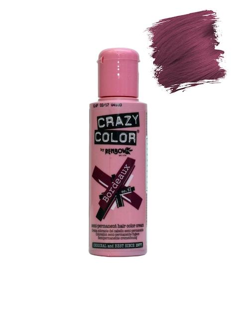 Crazy Color Unisex Bordeaux Semi-Permanent Hair Colour Cream 51 100 ml