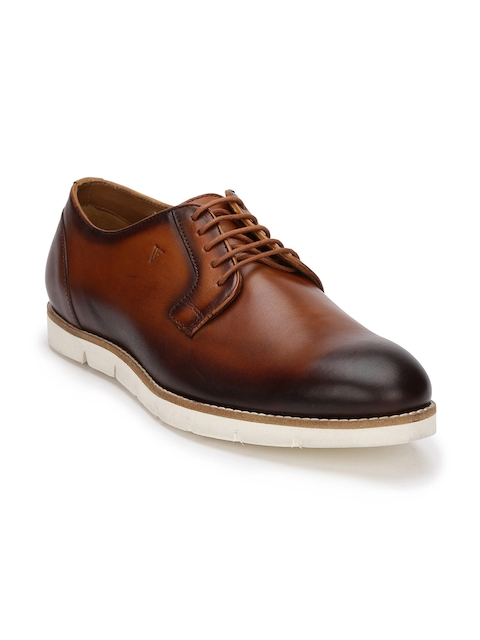 Van Heusen Men Tan Brown Leather Derbys