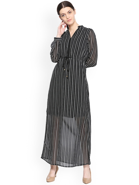 Van Heusen Woman Black Striped A-Line Dress