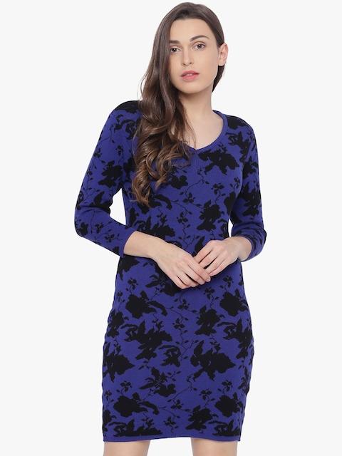 Van Heusen Woman Blue Printed Sheath Dress