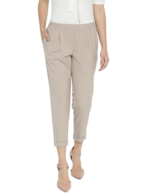 Van Heusen Woman Women Beige Regular Fit Striped Trousers