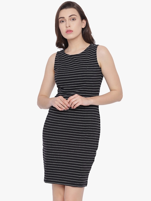 Van Heusen Woman Black Striped Sheath Dress