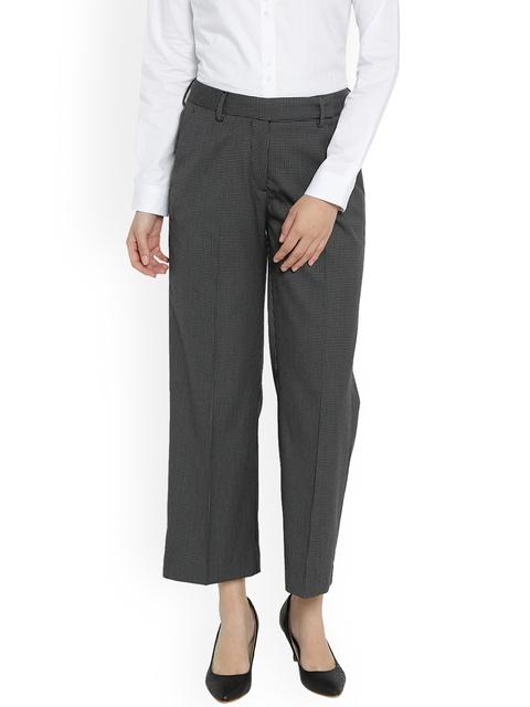 Van Heusen Woman Women Black & White Regular Fit Printed Regular Trousers