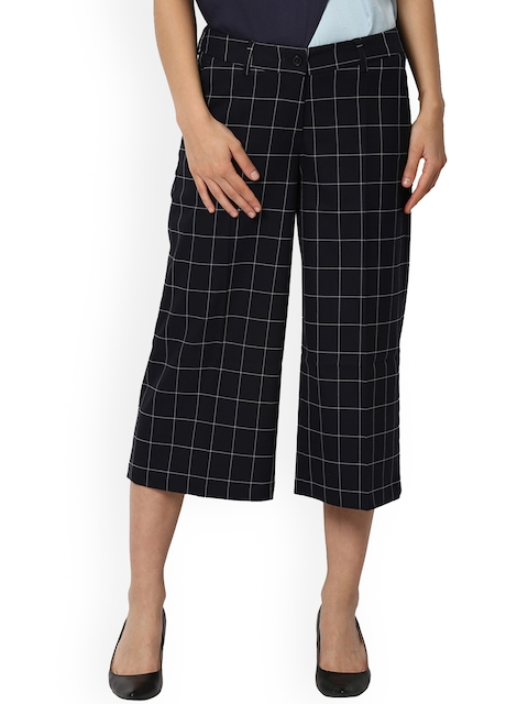 Van Heusen Woman Women Black Regular Fit Checked Culottes