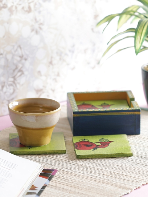 VarEesha Set of 6 Green & Blue Hand-Painted Wooden Coasters