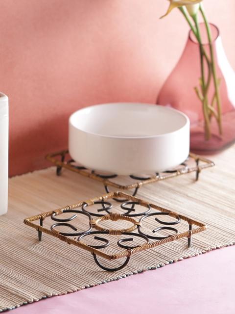 VarEesha Set of 6 Black & Beige Handcrafted Bamboo Coasters