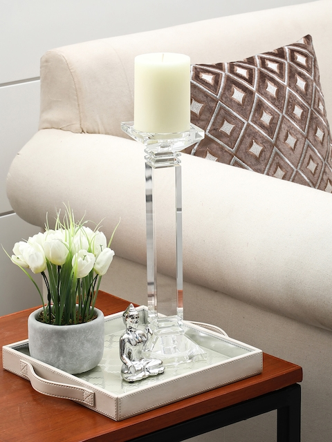 Pure Home and Living Transparent Crystal Column Candle Holder